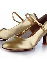 Недорогие -Жен. Танцевальная обувь Полиуретан Обувь для латины Кроссовки Тонкий высокий каблук Черный / Золотой / Серебряный