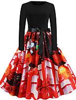 Недорогие -Жен. Винтаж Классический С летящей юбкой Платье - Геометрический принт, Пэчворк С принтом До колена Дед Мороз