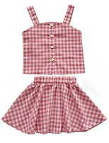 Недорогие -Дети Девочки Классический В клетку Без рукавов Набор одежды Красный