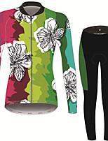 Недорогие -21Grams Цветочные ботанический Жен. Длинный рукав Велокофты и лосины - Черный / зеленый Велоспорт Наборы одежды Сохраняет тепло Дышащий Быстровысыхающий Виды спорта Зима Терилен Полиэфирная тафта