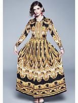 Недорогие -Жен. Классический Оболочка Платье - Контрастных цветов, С принтом Макси