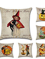 Недорогие -6 штук Лён Наволочка, Мультипликация Тыква Традиционный Хэллоуин Бросить подушку