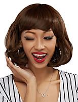 Недорогие -Парики из искусственных волос Волнистый Kardashian Стиль Аккуратная челка Машинное плетение Без шапочки-основы Парик Золотистый Бежевый Искусственные волосы 24 дюймовый Жен. / Жаропрочная