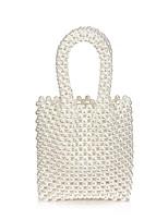 Недорогие -Жен. Жемчужная отделка Акрил / Полиэстер Вечерняя сумочка Сплошной цвет Черный / Бежевый
