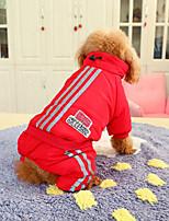 Недорогие -Собаки Инвентарь Одежда для собак Геометрический принт Белый Красный Синий Полиэстер Костюм Назначение Зима Праздник Хэллоуин