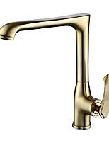 Недорогие -Одной ручкой одно отверстие Матовое золото Стандартный Носик По центру Современный Kitchen Taps