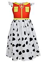 Недорогие -Дети Девочки Симпатичные Стиль Контрастных цветов Платье Оранжевый