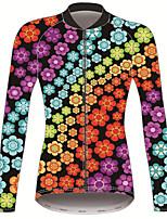 Недорогие -21Grams Цветочные ботанический Жен. Длинный рукав Велокофты - Красный + синий Велоспорт Джерси Верхняя часть Сохраняет тепло Устойчивость к УФ Дышащий Виды спорта Зима 100% полиэстер / Эластичная