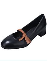 Недорогие -Жен. Обувь на каблуках На толстом каблуке Круглый носок Полиуретан Минимализм Осень Черный / Белый