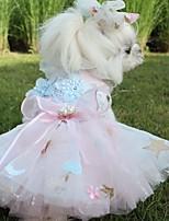 Недорогие -Собаки Инвентарь Платья Одежда для собак Цветы Светло-синий Розовый Полиэстер Костюм Назначение Лето Свадьба
