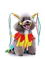 Недорогие -Собаки Костюмы Комбинезоны Одежда для собак Контрастных цветов Радужный полоса Желтый Полиэстер Костюм Назначение Зима Праздник Хэллоуин