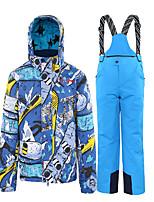 Недорогие -Мальчики Лыжная куртка и брюки Водонепроницаемость Сохраняет тепло С защитой от ветра Отдых и Туризм Зимние виды спорта Терилен Наборы одежды Одежда для катания на лыжах