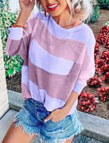 Недорогие -Жен. Блуза Классический Контрастных цветов Светло-синий