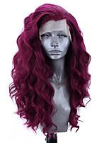 Недорогие -Синтетические кружевные передние парики Волнистый Стиль Боковая часть Лента спереди Парик Фиолетовый Искусственные волосы 18-26 дюймовый Жен. Регулируется Жаропрочная Для вечеринок Фиолетовый Парик