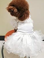 Недорогие -Собаки Инвентарь Одежда для собак Вышивка Белый Золотой Полиэстер Костюм Назначение Лето Свадьба