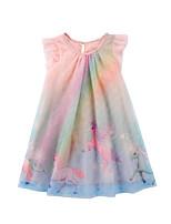 Недорогие -Дети Дети (1-4 лет) Девочки Активный Милая Unicorn Мультипликация С короткими рукавами До колена Платье Розовый