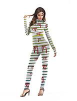 Недорогие -Зомби Косплэй Kостюмы Взрослые Жен. Сплошной Хэллоуин Хэллоуин Фестиваль / праздник Полиэстер Светло-зеленый Жен. Карнавальные костюмы / трико / Комбинезон-пижама
