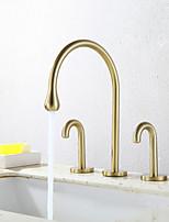 Недорогие -кухонный смеситель - Две ручки три отверстия Хром / Начищенная бронза / Электропокрытие Стандартный Носик / Высокий / High Arc Разбросанная Современный Kitchen Taps