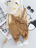 Недорогие -малыш Мальчики Активный / Классический С принтом С принтом Длинный рукав Обычный Обычная Набор одежды Светло-коричневый