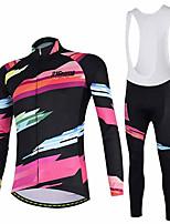 Недорогие -21Grams Жен. Длинный рукав Велокофты и велокомбинезоны Розовый / черный Велоспорт Наборы одежды Сохраняет тепло Дышащий Быстровысыхающий Анатомический дизайн Ультрафиолетовая устойчивость Зима