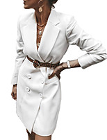 abordables -Femme Blazer, Couleur Pleine Col de Chemise Polyester Noir / Blanche / Jaune