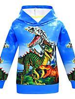 Недорогие -Дети Мальчики Классический Динозавр С принтом С принтом Длинный рукав Худи / толстовка Синий