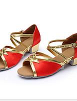 Недорогие -Жен. Танцевальная обувь Кожа Обувь для латины На каблуках Толстая каблук Черный / Коричневый / Золотой