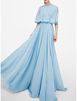 cheap -A-Line Jewel Neck Floor Length Chiffon Formal Evening Dress with Pleats by LAN TING Express