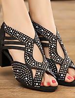 Недорогие -Жен. Танцевальная обувь Кожа Обувь для латины На каблуках Толстая каблук Черный