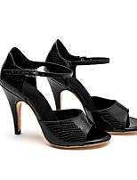 Недорогие -Жен. Танцевальная обувь Полиуретан Обувь для латины На каблуках Тонкий высокий каблук Персонализируемая Черный / Черный и золотой / Золотой
