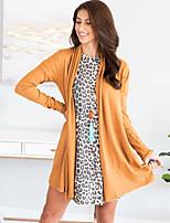 Недорогие -Жен. Повседневные Классический Осень Обычная Пальто, Однотонный V-образный вырез Длинный рукав Полиэстер Черный / Винный / Оранжевый