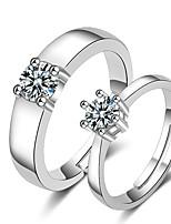Недорогие -Для пары Кольца для пар Кольцо 1шт Белый Серебряный Медь Круглый Классический корейский Мода Свадьба Бижутерия