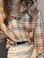 Недорогие -Жен. Рубашка Шахматка Оранжевый