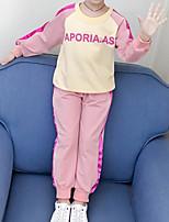 Недорогие -Дети Девочки Классический Мультипликация Длинный рукав Обычный Обычная Набор одежды Розовый