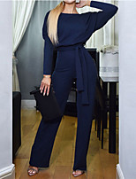 Недорогие -Жен. Активный / Классический Черный Синий Бежевый Комбинезоны, Однотонный Шнуровка S M L