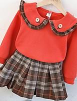 Недорогие -Дети Девочки Классический Полоски Длинный рукав Набор одежды Красный