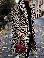 Недорогие -Жен. Повседневные Зима Длинная Пальто, Леопард Приподнятый круглый Длинный рукав Полиэстер Хаки