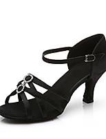 Недорогие -Жен. Танцевальная обувь Сатин Обувь для латины На каблуках Кубинский каблук Персонализируемая Черный / Коричневый
