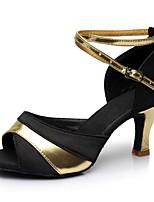 Недорогие -Жен. Танцевальная обувь Лакированная кожа Обувь для латины На каблуках Тонкий высокий каблук Персонализируемая Черный и золотой