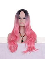 Недорогие -Парики из искусственных волос Естественные кудри Стиль Стрижка каскад Без шапочки-основы Парик Розовый Черныйлиловый Черный / розовый Искусственные волосы 24 дюймовый Жен. Модный дизайн Женский