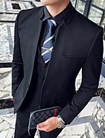 Недорогие -Черный / Светло-серый / Серый Однотонный Приталенный крой Полиэстер Костюм - Китайский воротничок Однобортный с 1 пуговицей