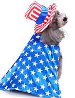 Недорогие -Собаки Инвентарь Одежда для собак Флаги Синий Полиэстер Костюм Назначение Зима Женский Праздник Хэллоуин