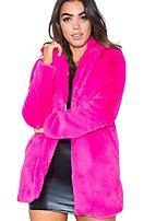 Недорогие -Жен. Повседневные Наступила зима Обычная Искусственное меховое пальто, Однотонный Отложной Длинный рукав Искусственный мех Черный / Белый / Розовый