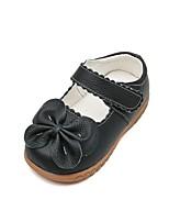 Недорогие -Девочки Удобная обувь Кожа На плокой подошве Маленькие дети (4-7 лет) Бант Черный / Красный Осень
