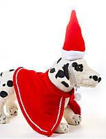 Недорогие -Грызуны Собаки Коты Шляпы, колпаки, банданы Одежда для собак Однотонный Рождество Красный Ткань Костюм Назначение ши-тцу Пудель Чихуахуа Осень Зима Хэллоуин Рождество