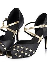 Недорогие -Жен. Танцевальная обувь Полиуретан Обувь для латины На каблуках Тонкий высокий каблук Черный / Белый