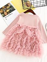 Недорогие -Дети Девочки Симпатичные Стиль Однотонный Платье Розовый
