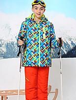 Недорогие -Мальчики Лыжная куртка и брюки Дожденепроницаемый Теплый Лыжи Катание на лыжах Сноубординг Зимние виды спорта Полиэфир Терилен Наборы одежды Одежда для катания на лыжах