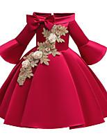 Недорогие -Дети Дети (1-4 лет) Девочки Активный Милая Однотонный Цветочный принт Вышивка Рукав до локтя До колена Платье Красный