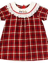 Недорогие -Дети Девочки Симпатичные Стиль В клетку Платье Красный